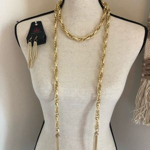 Gold braided necklace & tassel earrings